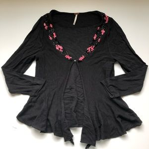 Free People Black Pink Sequin Open Front Cardigan